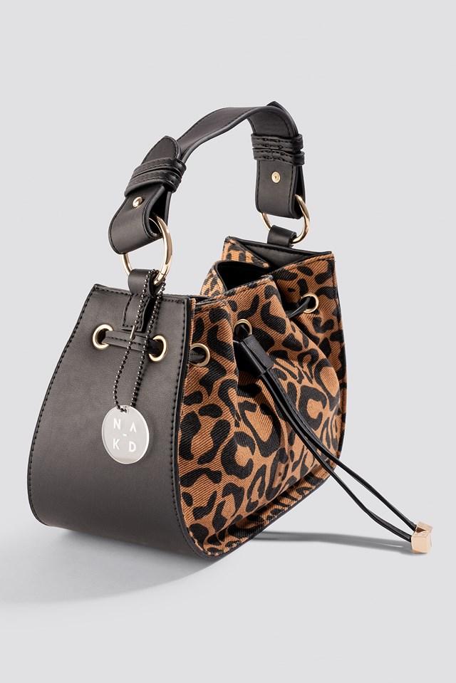 Denim Drawstring Bag Leopard