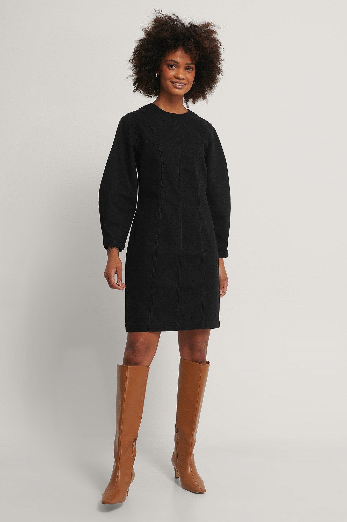 NA-KD Reborn Ekologisk Denimklänning - Black