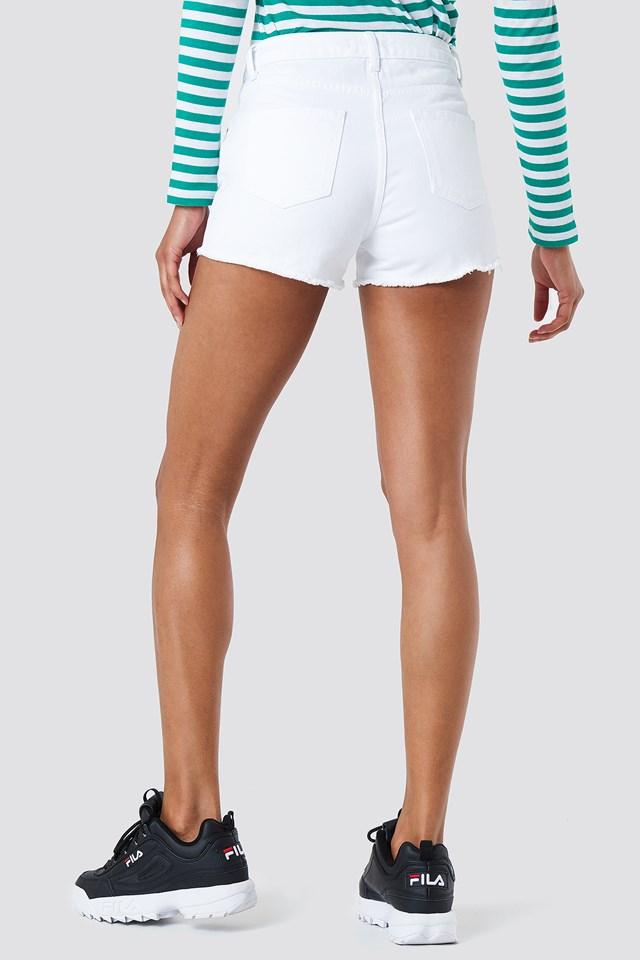 Denim Fray Hem Shorts White