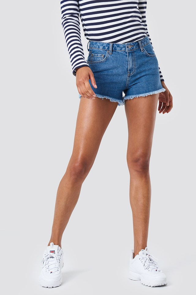 Denim Fray Hem Shorts Mid Blue