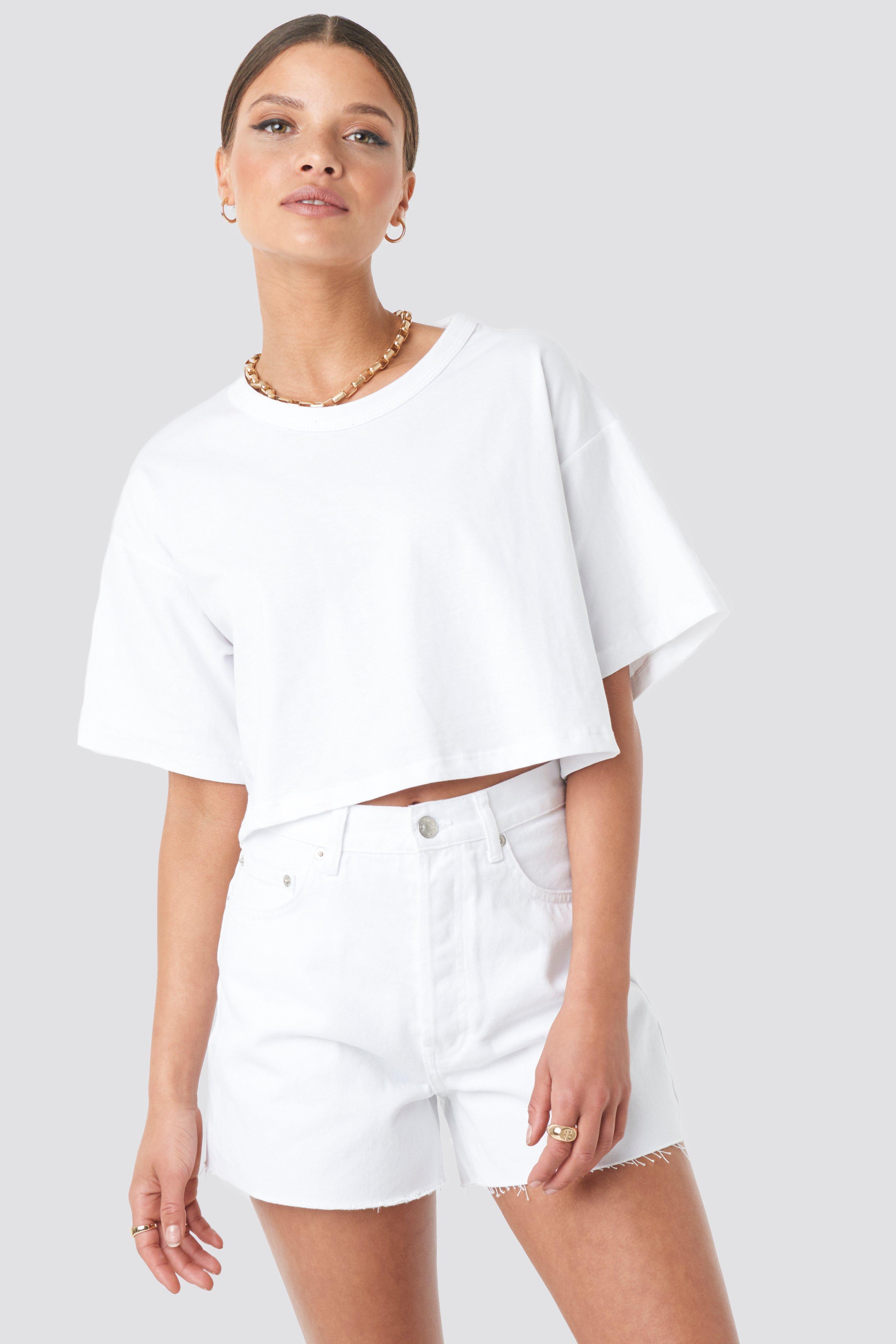 NA-KD Trend Denim High Waist Shorts - White