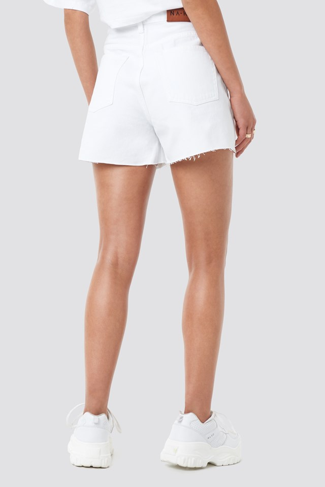 Denim High Waist Shorts White