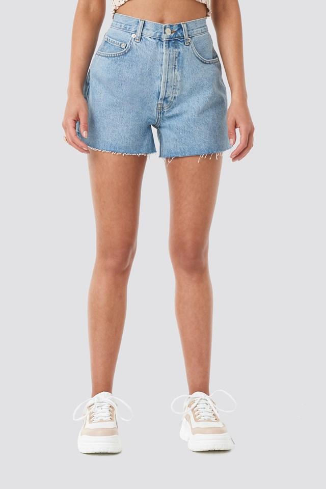 Denim High Waist Shorts Light Blue