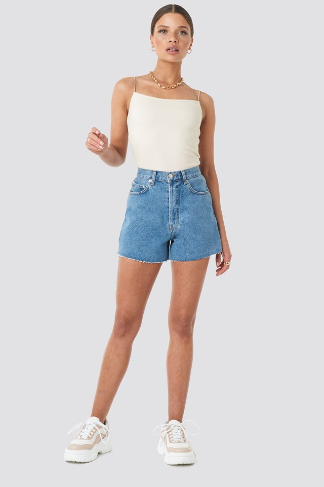 Denim High Waist Shorts Mid Blue