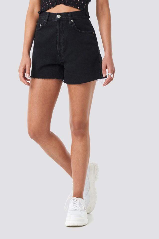 Denim High Waist Shorts Black