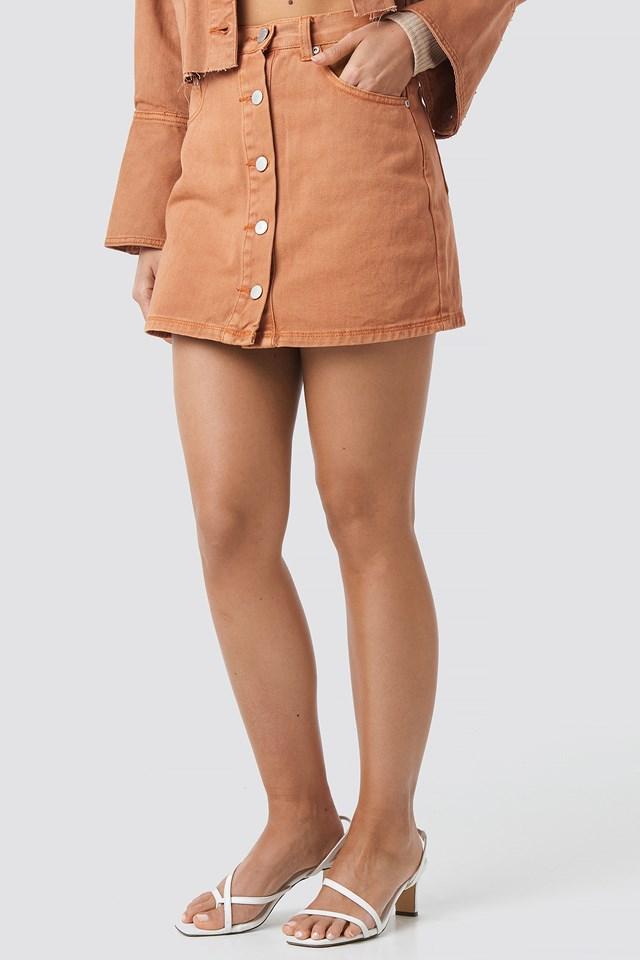 Denim Mini Skirt Orange Rust