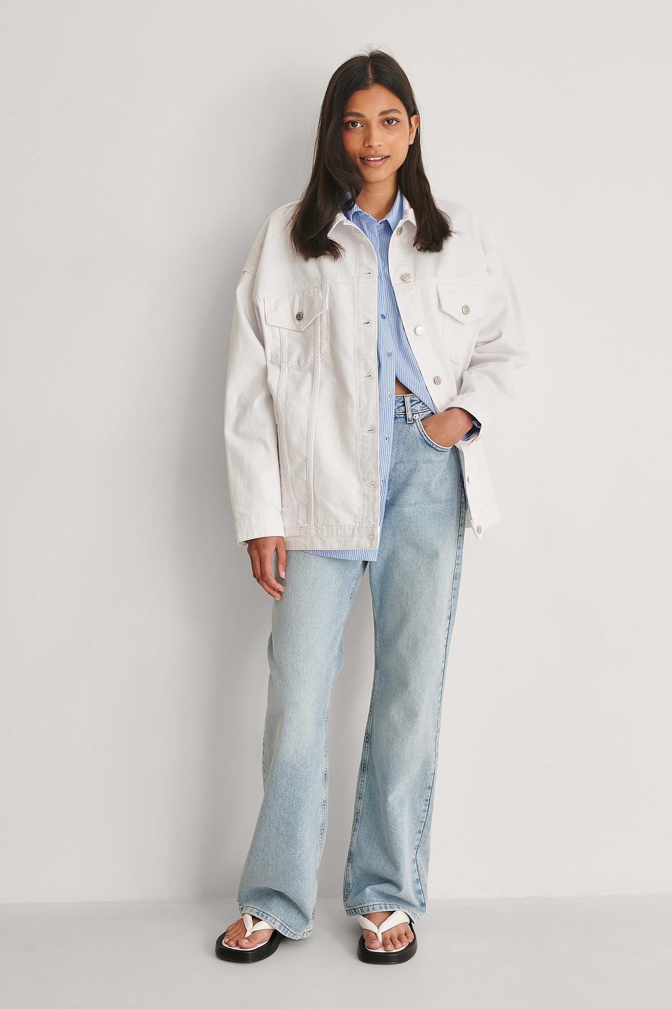 na-kd -  Organisch Übergroße Jeansjacke - White