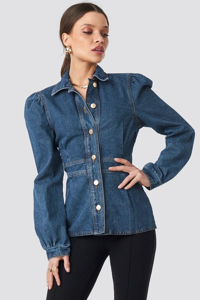 Denim Puff Sleeve Jacket Dark Blue