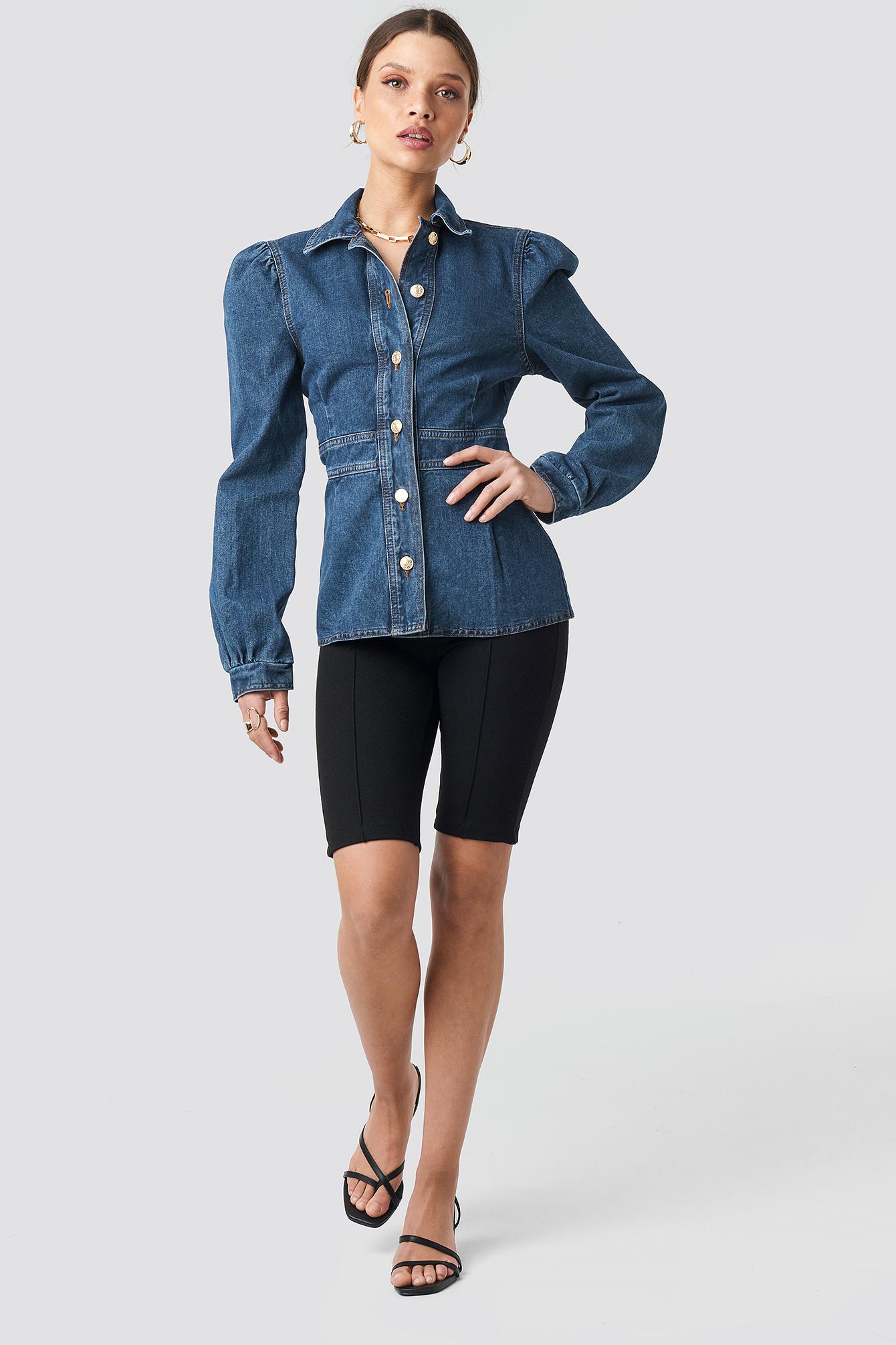 Denim Puff Sleeve Jacket NA-KD.COM