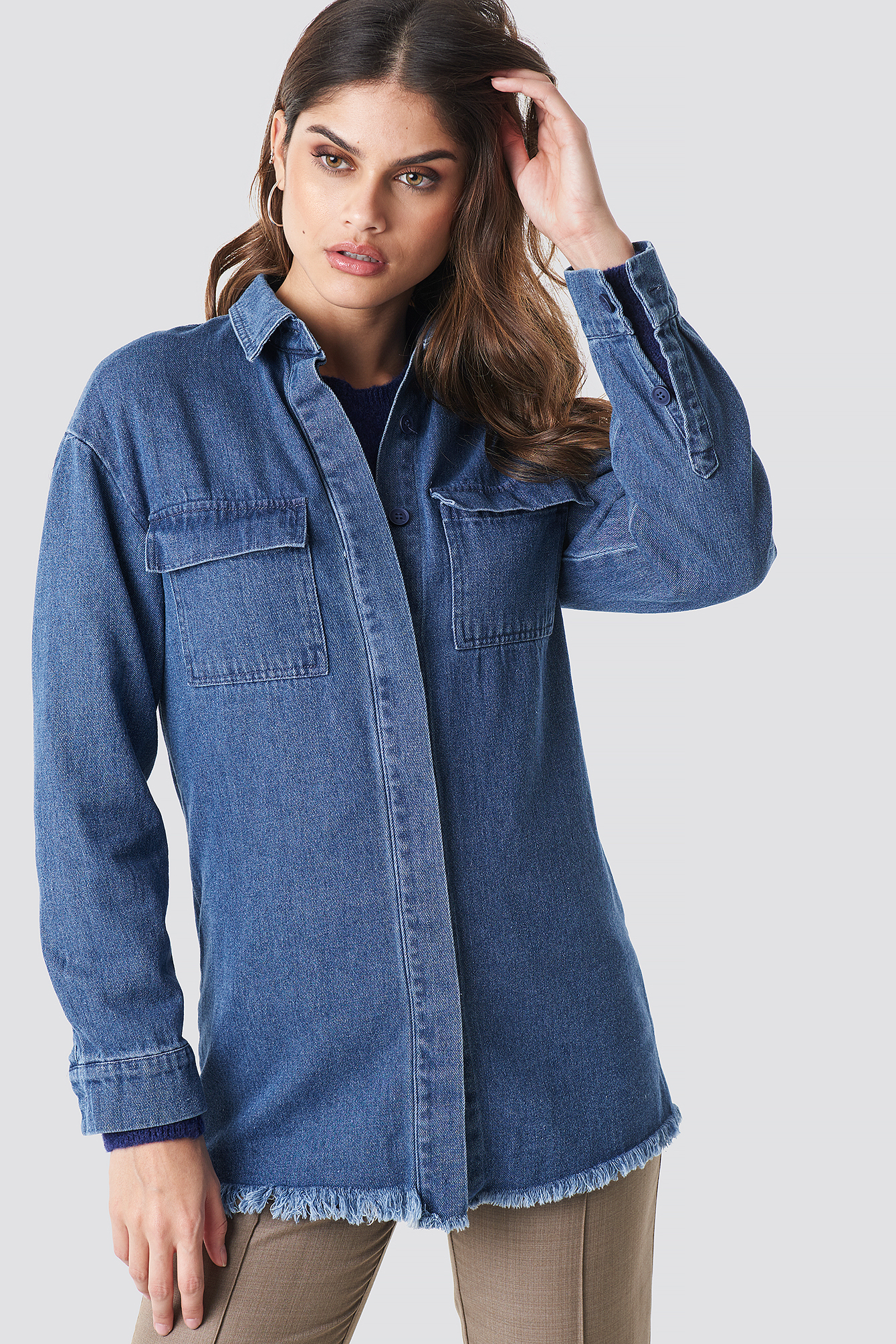 Denim raw Hem Shirt NA-KD.COM