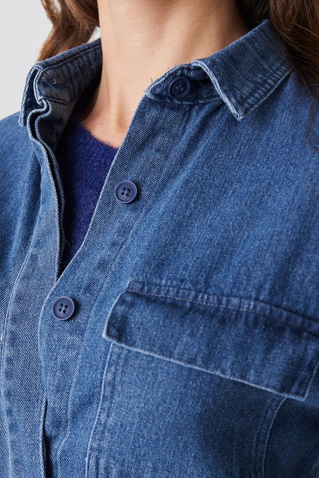 Denim raw Hem Shirt Mid Blue