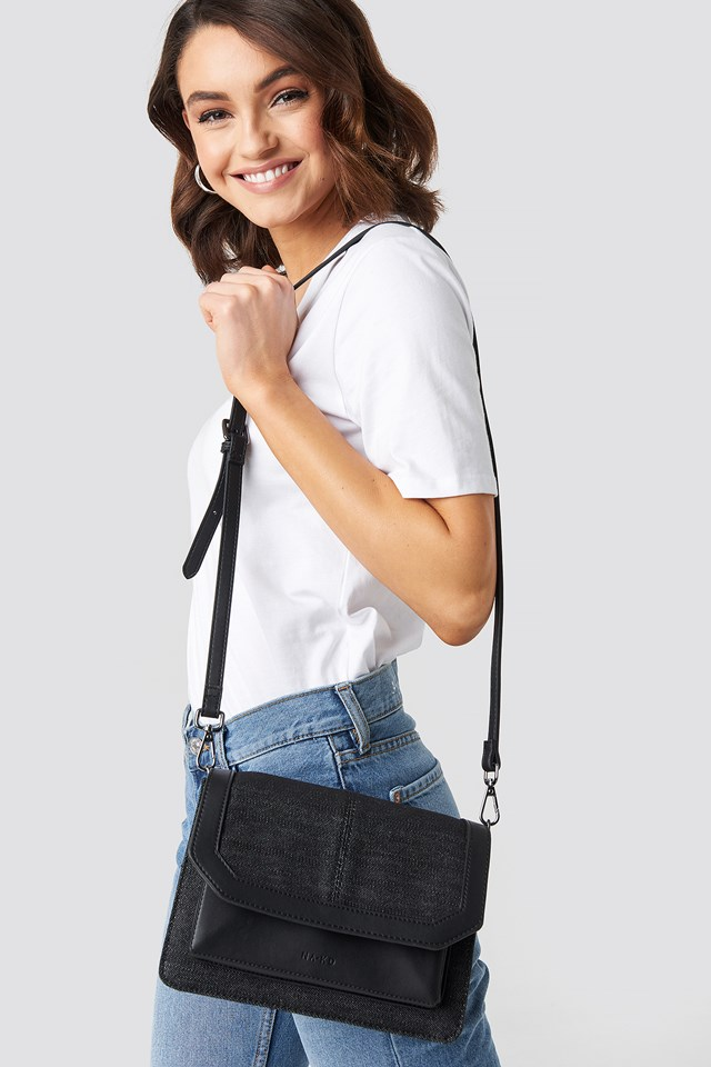 Denim Shoulderbag With Chain Strap Black