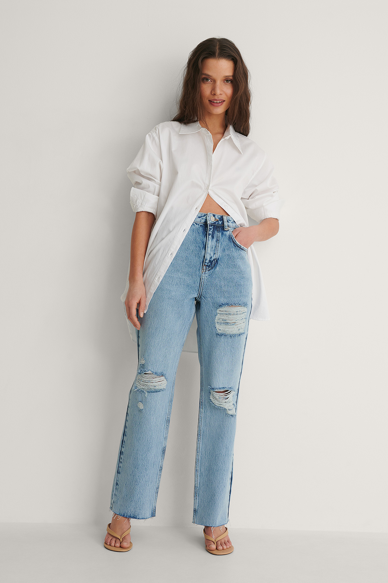 Light Blue Destroyed Detail High Waist Straight Jeans