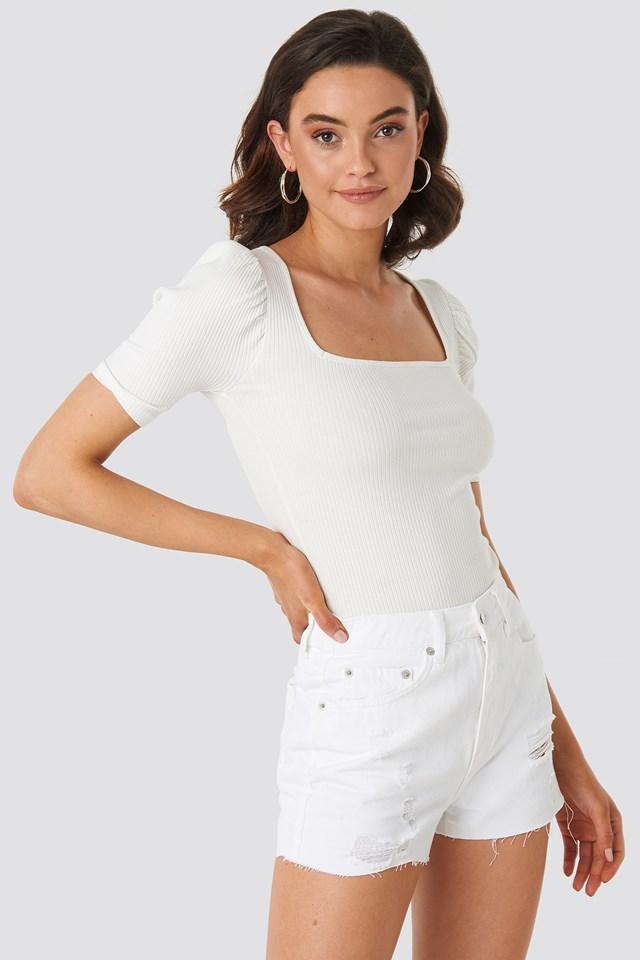 Destroyed High Waist Denim Shorts White
