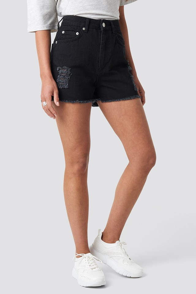 Destroyed High Waist Denim Shorts Black