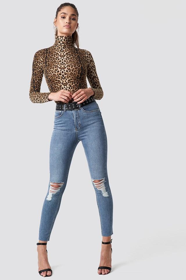 Destroyed Knee Raw Hem Jeans Mid Blue