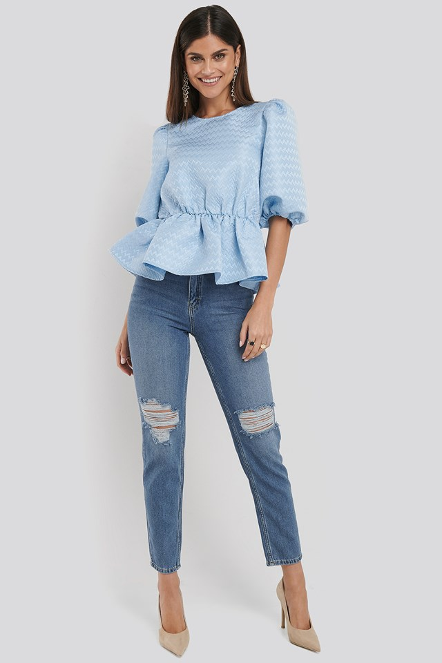Destroyed Mom Jeans Mid Blue