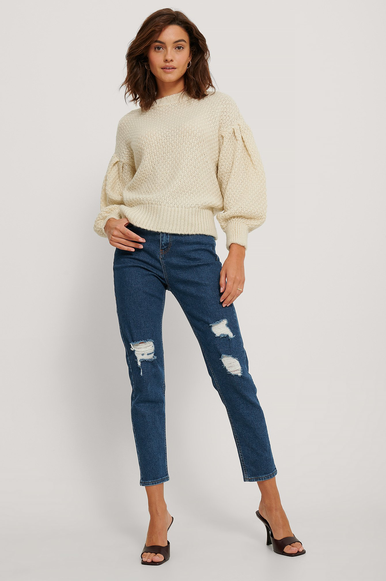 Mid Blue Skinny Jeans Mit Hoher Taille Used-Look
