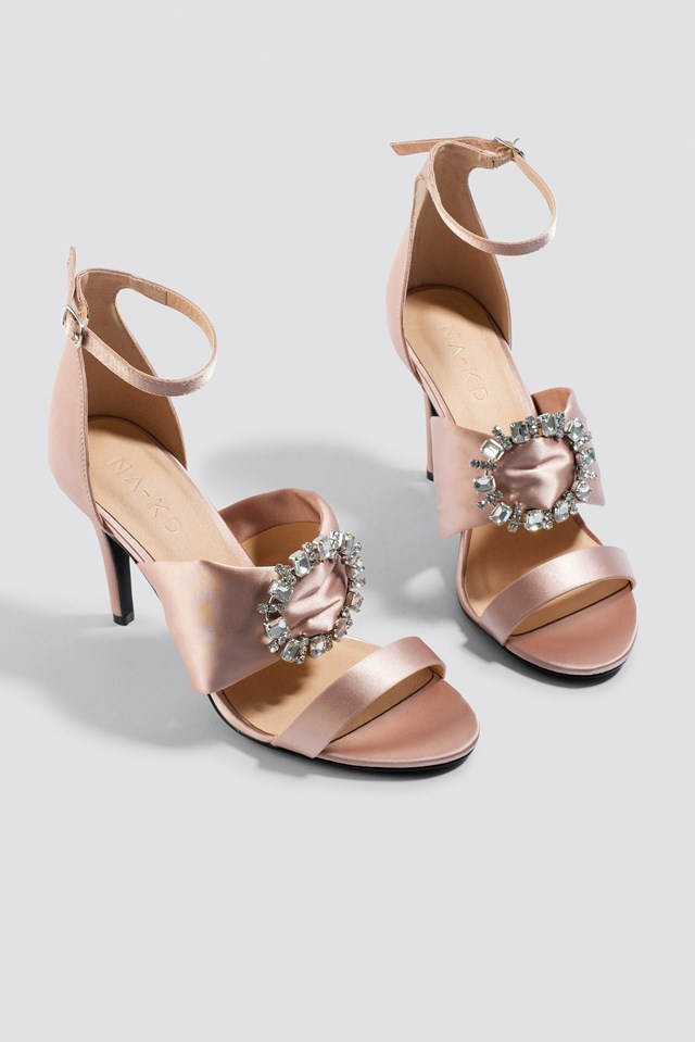 Jewel Detail High Heel Sandals Dusty Light Pink