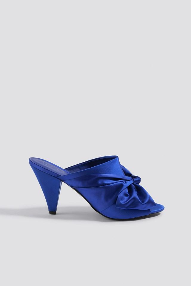Bow Detail Mule Heels Cobalt