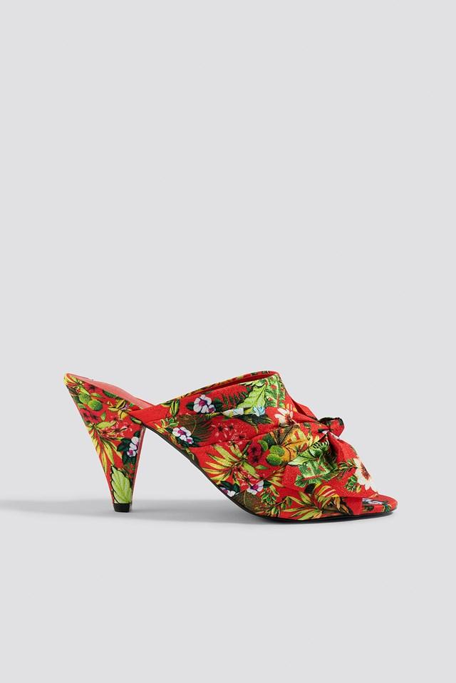 Bow Detail Mule Heels Red Print