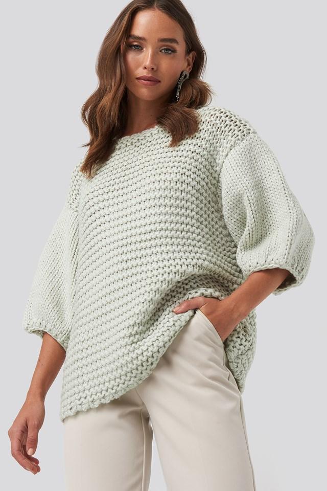 Detail Neck Short Sleeve Sweater Grey