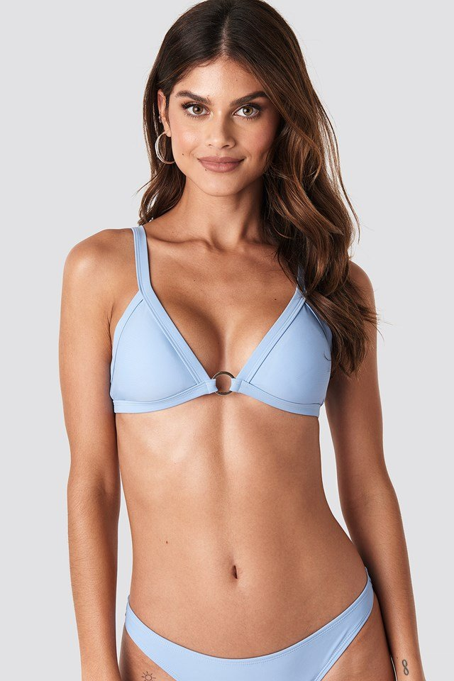 Detailed Bikini Top Blue