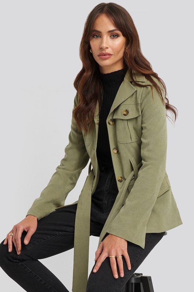 Detailed Blazer Dusty Light Green