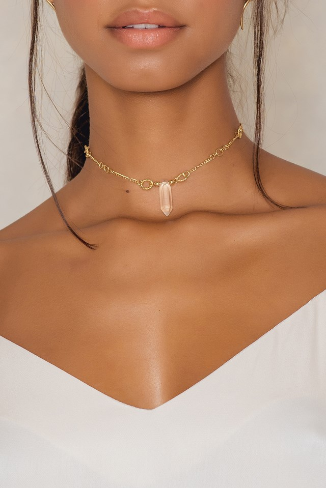 Detailed Chain Stone Choker Gold
