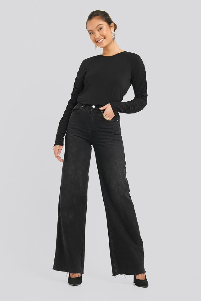 Detailed Sleeve Jersey Top Black