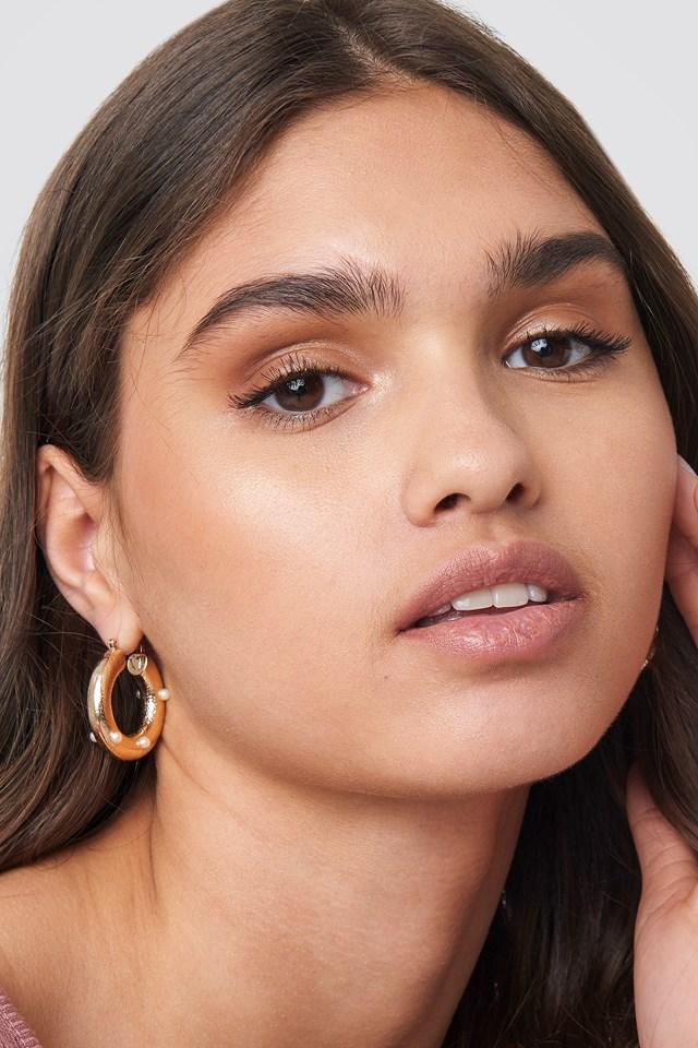 Detailed Thick Hoop Earrings Gold