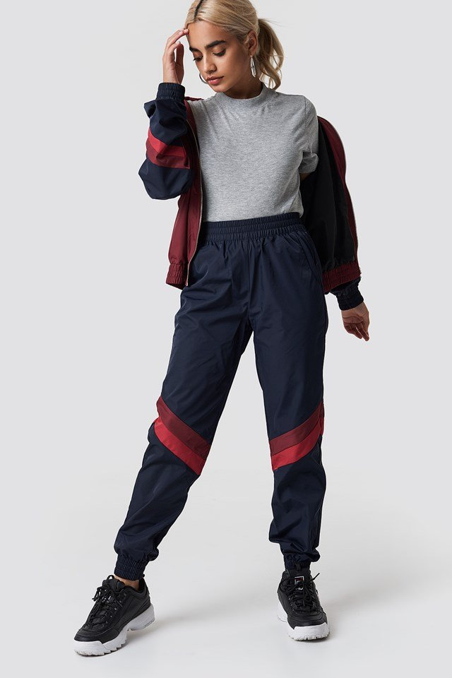 Diagonal Detail Tracksuit Pants Dark Blue Combo