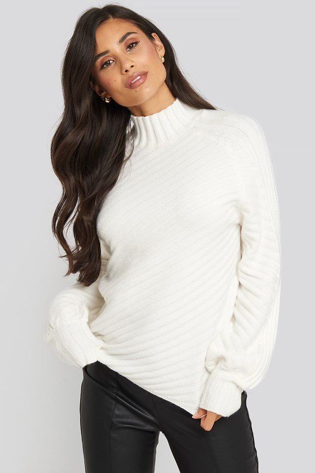 Diagonal Ribbed Knitted Sweater Offwhite