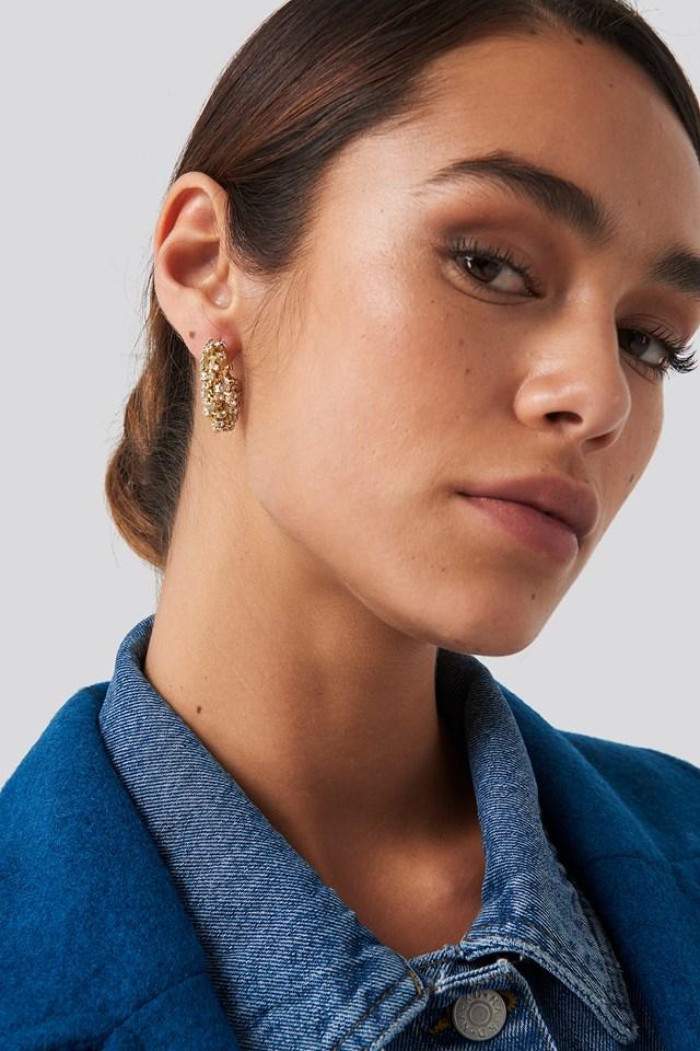 Diamant Detailed Hoop Earrings Gold