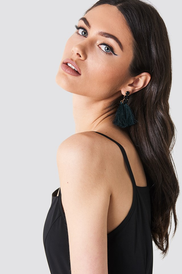 Diamond Tassels Earrings Black
