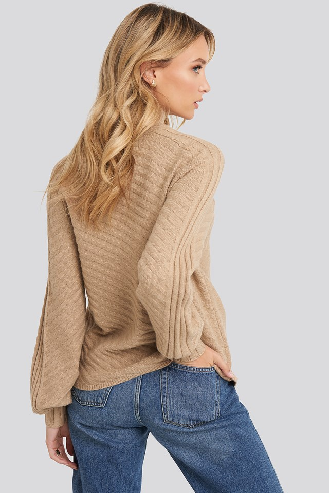 Diagonal Ribbed Knitted Sweater Beige