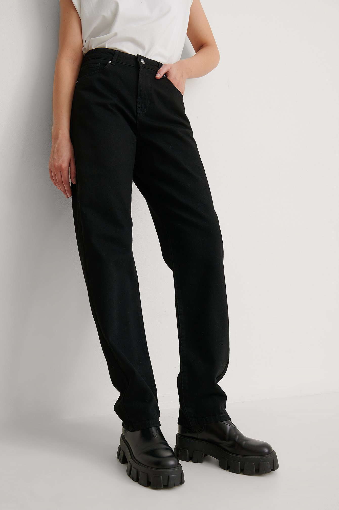 Black Soft Rigid Oversized Long Jeans
