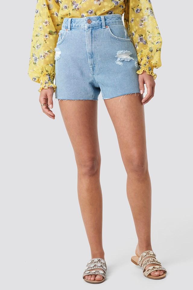 DIstressed Denim Shorts Light Blue