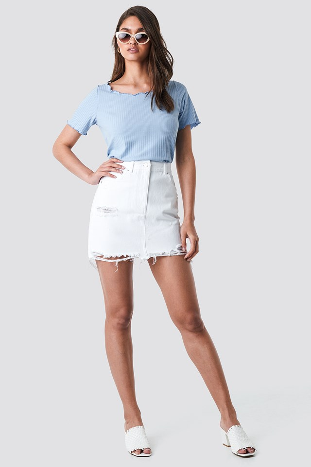 Distressed Denim Mini Skirt White