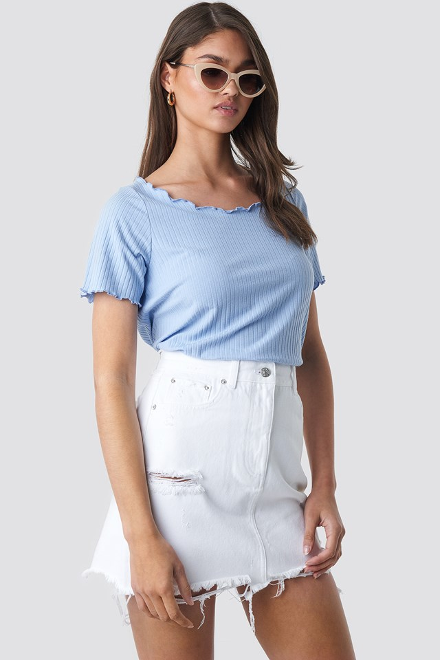 Distressed Denim Mini Skirt NA-KD.COM