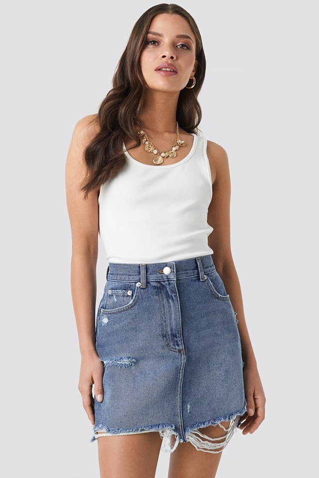 Distressed Denim Mini Skirt Mid Blue Wash