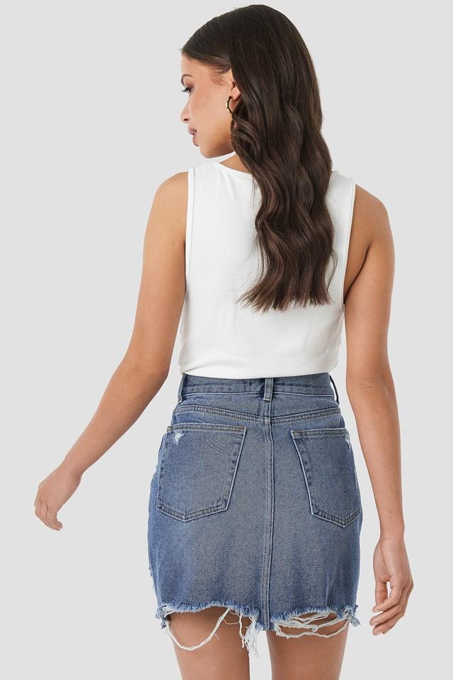 Distressed Denim Mini Skirt Mid Blue Wash