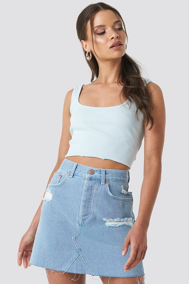 Distressed Denim Skirt NA-KD