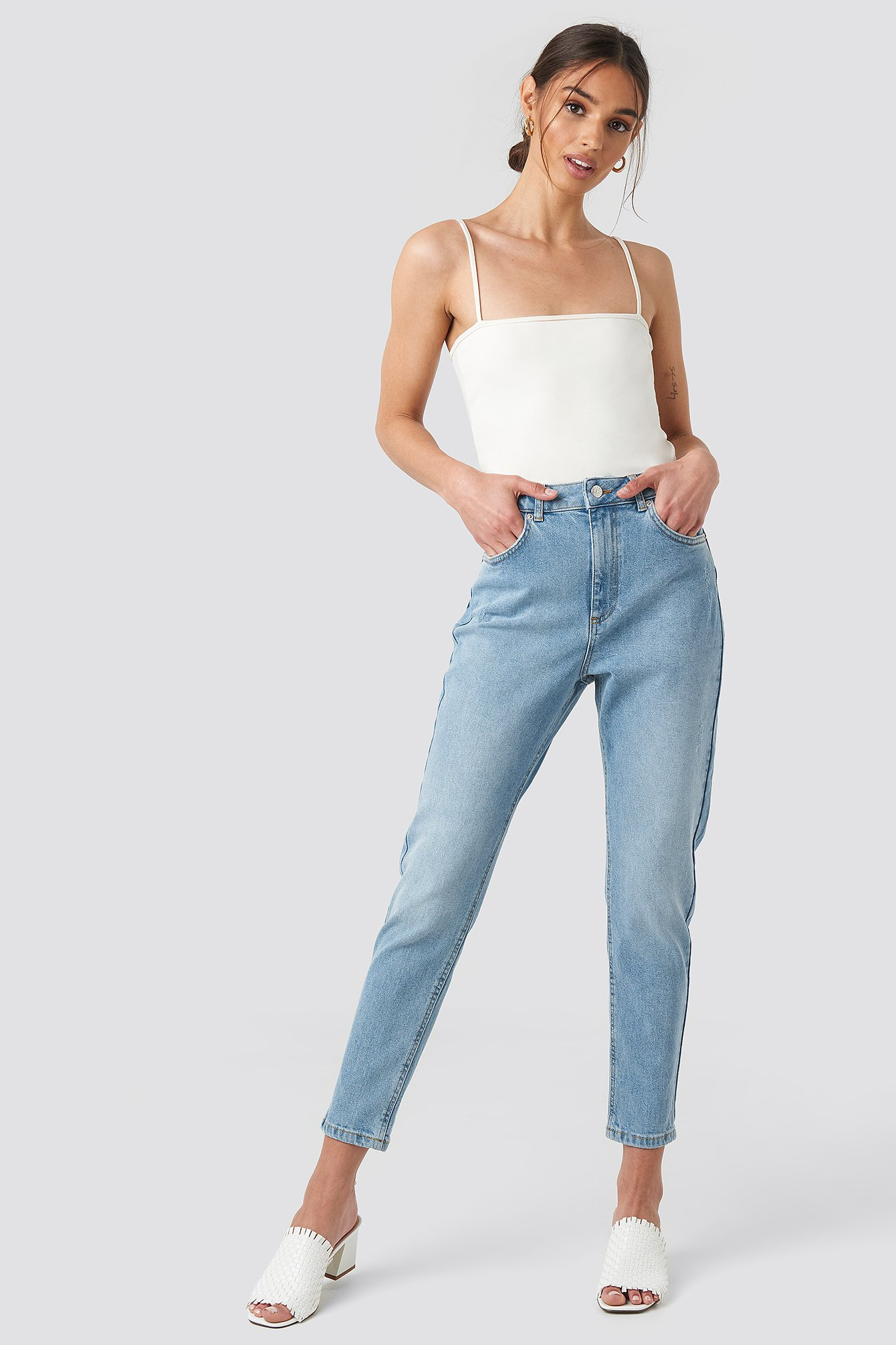 Distressed Mom Jeans Blå by Na Kd
