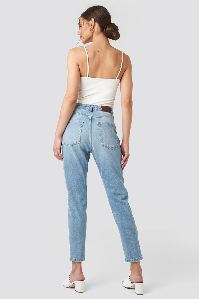 Distressed Jeans Mid Blue Wash