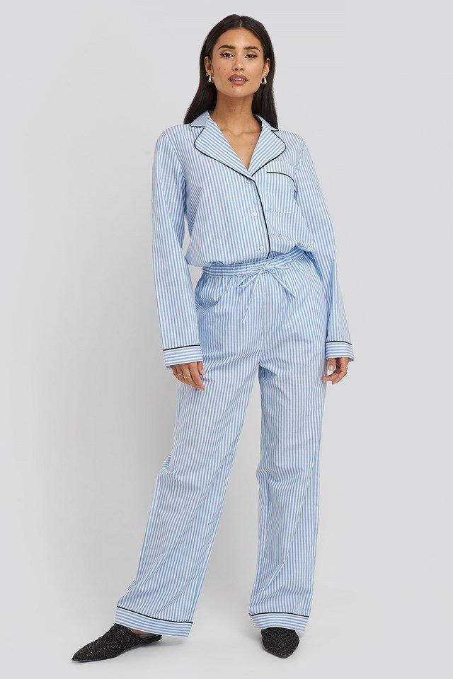Dobby Cotton Night Pants Blue/White Stripe