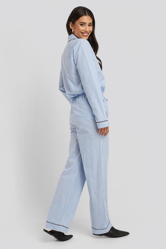 Dobby Cotton Night Pants Blue/White Stripe