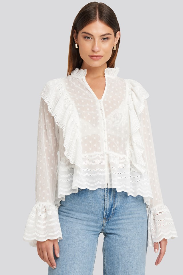 Dobby Flounce Embroidery Blouse White