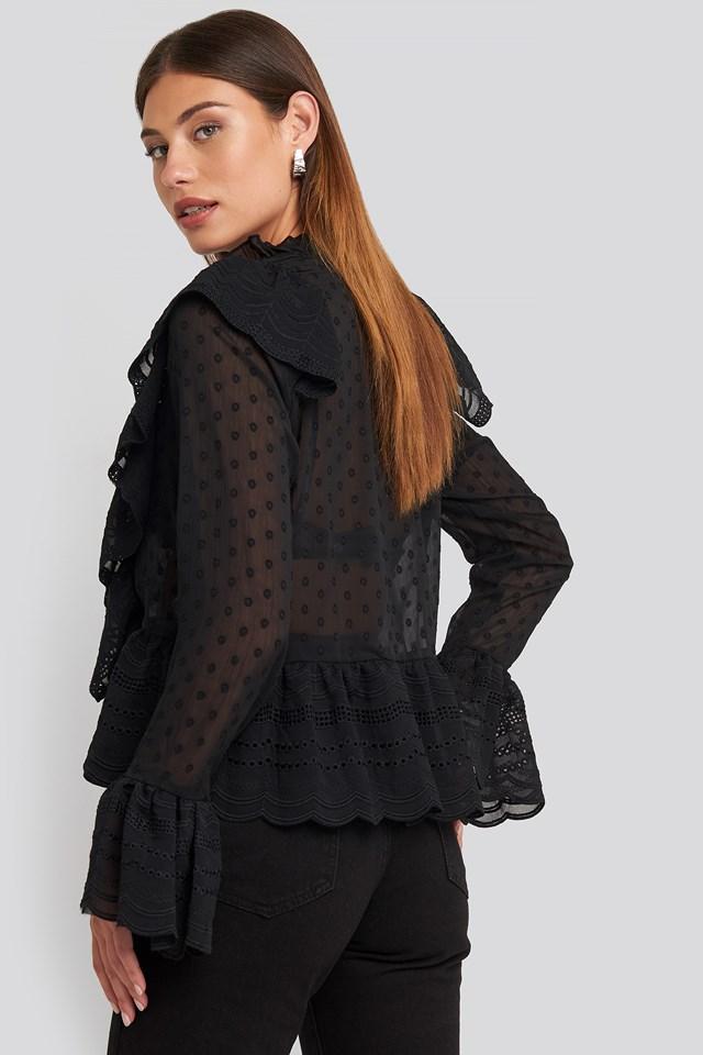 Dobby Flounce Embroidery Blouse Black