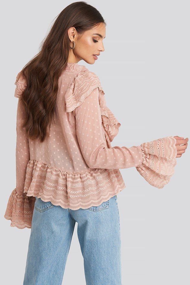 Dobby Flounce Embroidery Blouse Dusty Pink